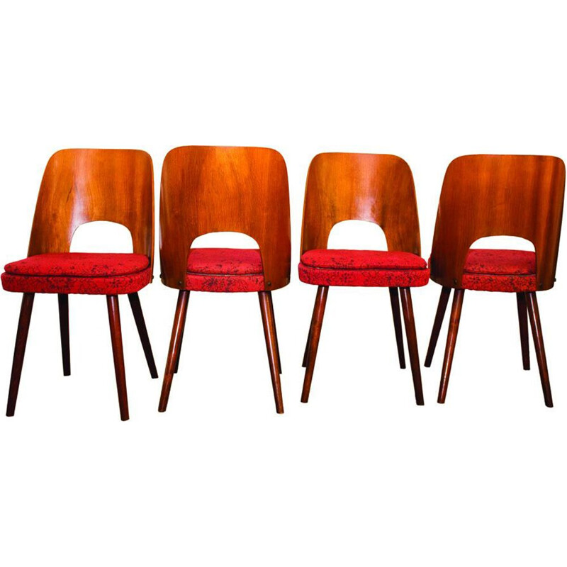 Set of 4 vintage chairs for TON in walnut and red fabric 1950