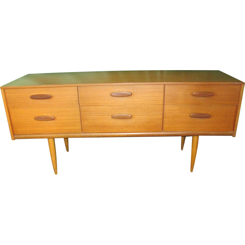 Vintage chest of 6 drawers in teak 1970