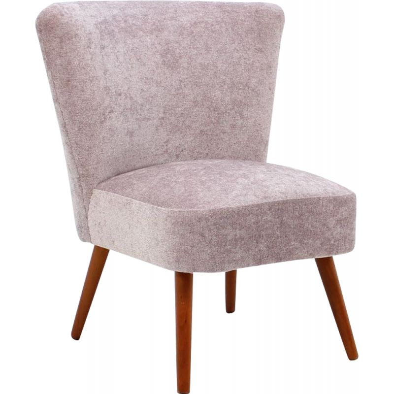 Vintage danish armchair in pink fabric and wood 1950
