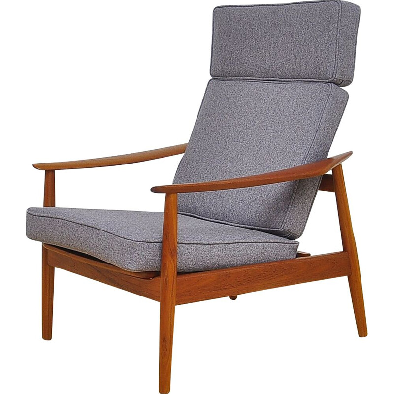 Vintage FD-164 armchair for Cado in grey wool and teakwood 1960