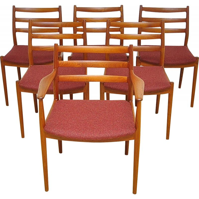 Set of 6 vintage model 191 chairs for France & Søn in red wool and teakwood 1960