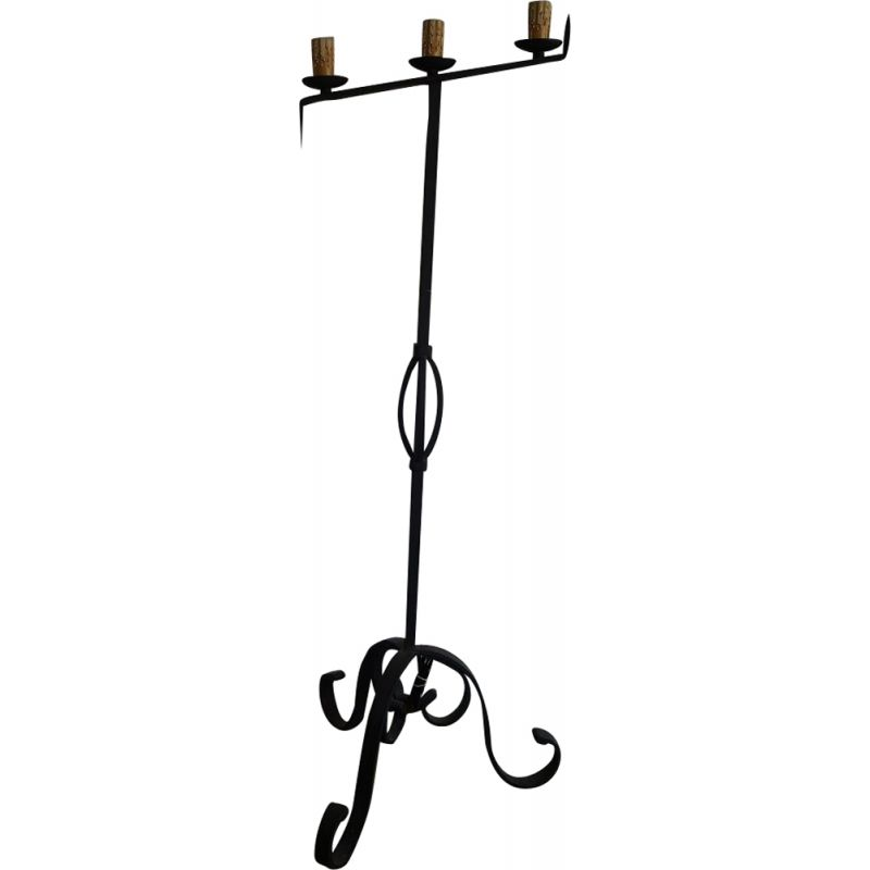 French vintage floor lamp in black wrought iron 1930