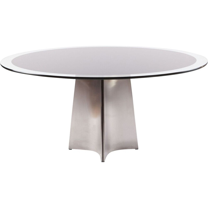 Vintage table for Maison Jansen in brushed steel and glass 1970