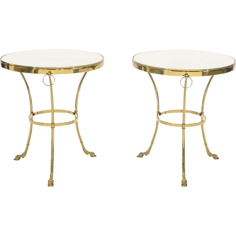 Pair of vintage side tables for Maison Charles in marble and brass 1970