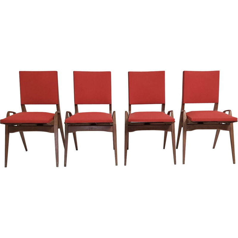 Set of 4 vintage Pré chairs in red leatherette and oak 1950
