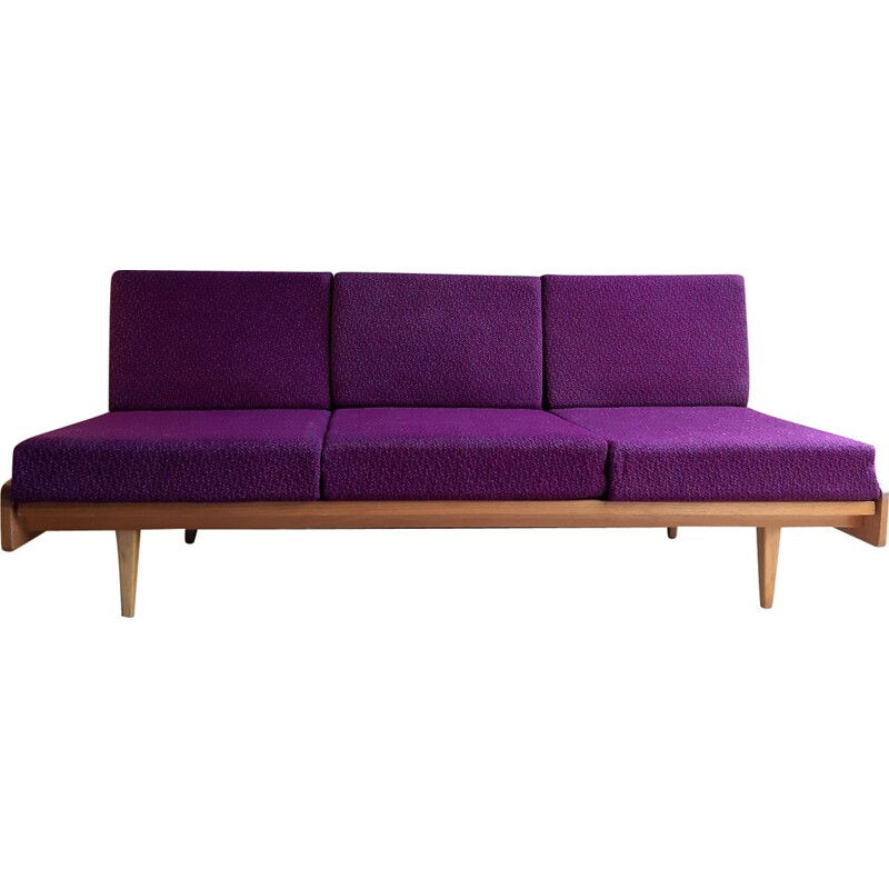 Vintage sofa for Interier Praha in purple fabric and beech 1960