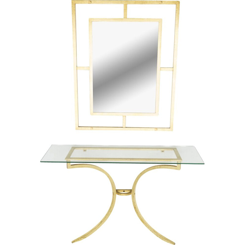 Vintage side table by Thibier with gilded wrought iron with mirror 1960