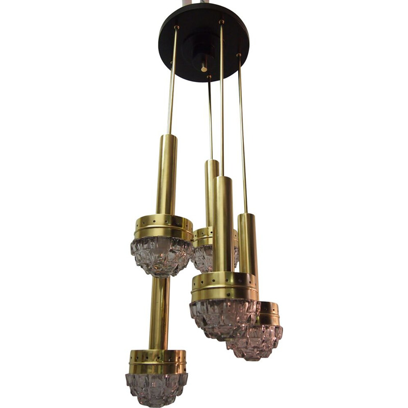 Vintage pendant lamp by Fagerlunden in brass metal and glass 1960