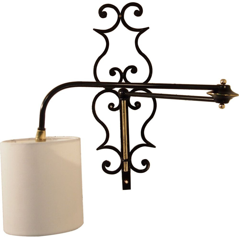 French vintage Potence sconce for Lunel in brass and iron 1950