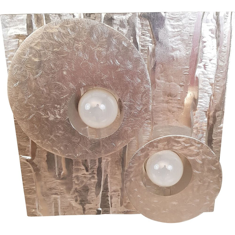 Vintage sconce for Lumalux 2000 in silver aluminum 1970