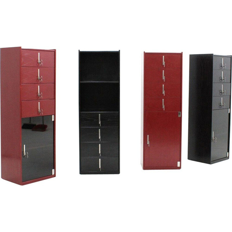 Set of 4 vintage cabinets lacquered Vittorio Introini for Saporiti 1970s