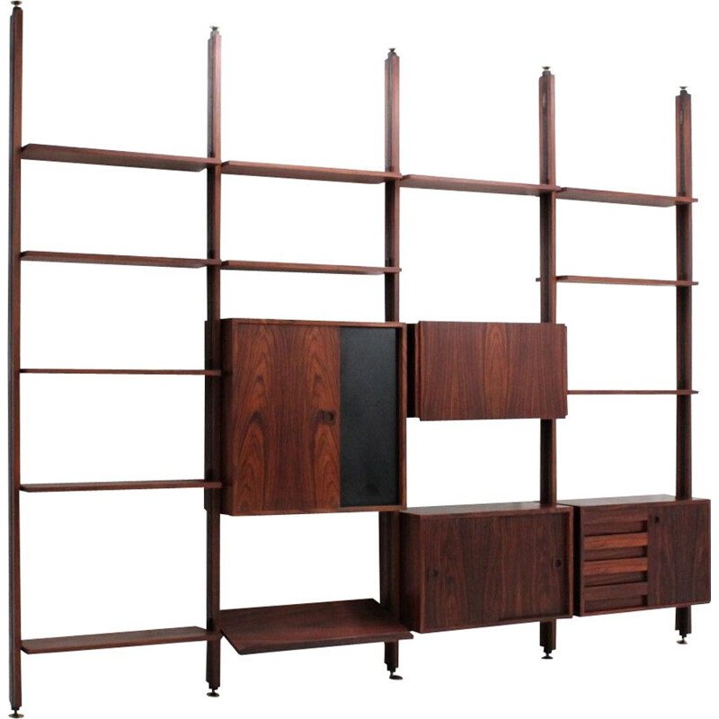 Vintage modular bookcase in rosewood Italy 1950s