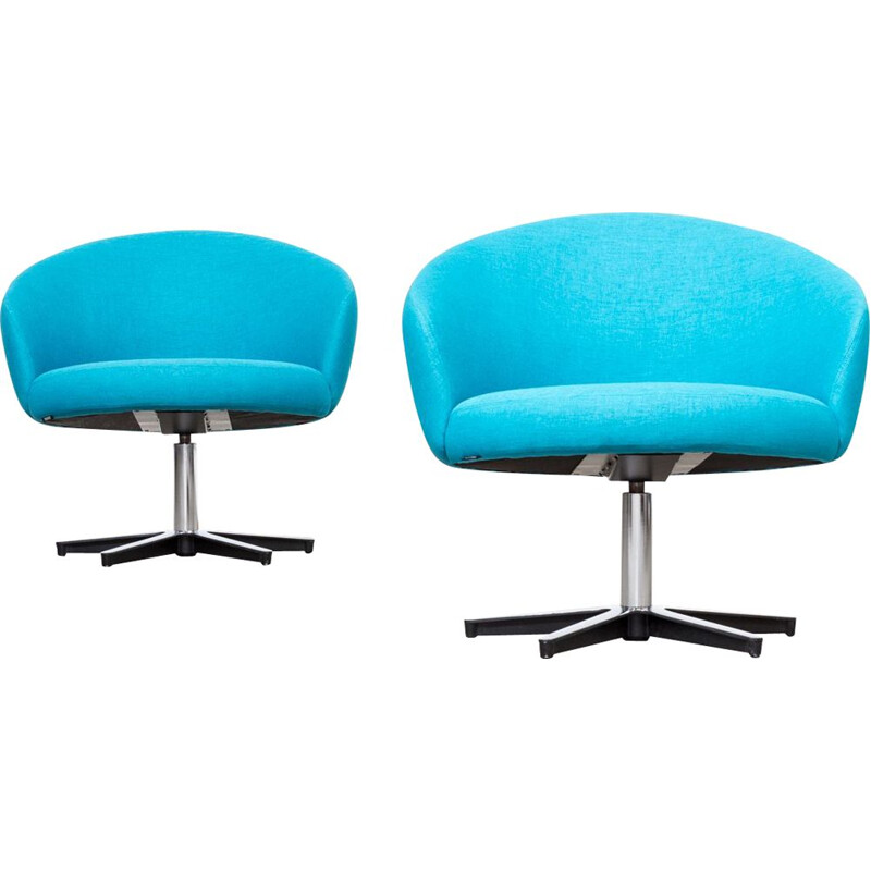 Set of 2 vintage swivel chairs Rondino by Yngve Ekstrom for Swedese 1960s