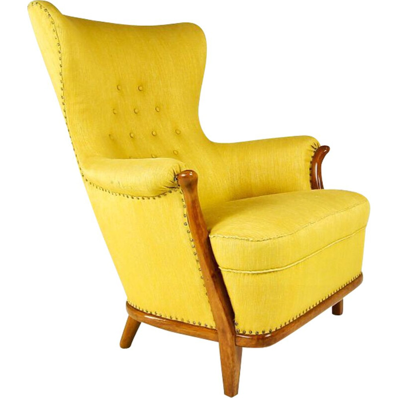 Vintage Armchair in Walnut With Yellow Wool Upholstery Swedish 1950s