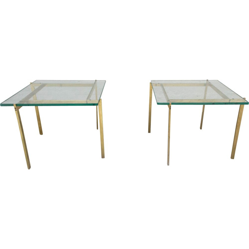 Pair of vintage side tables in brass France 1970s