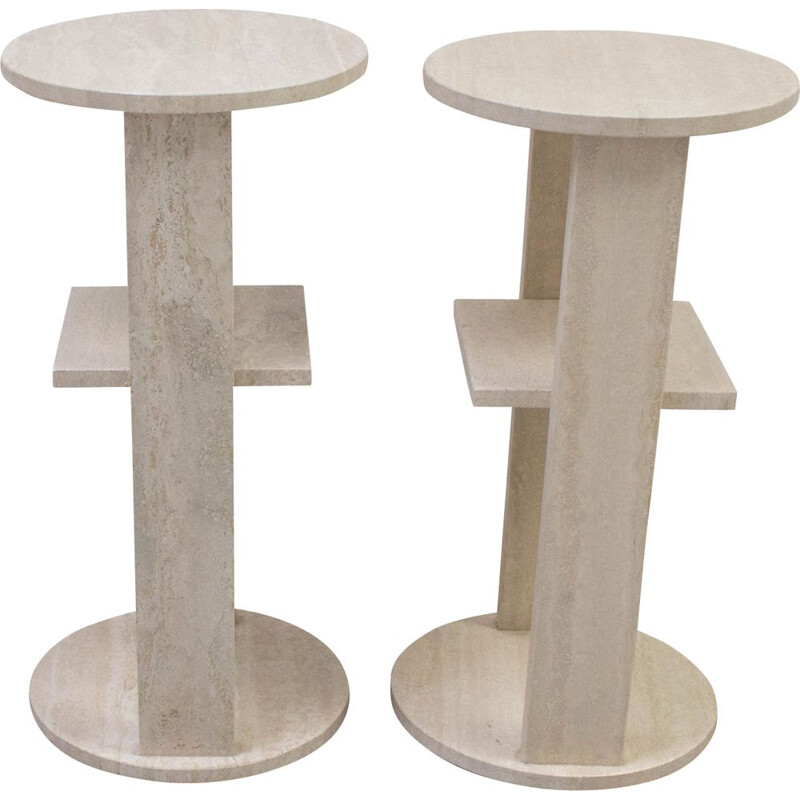 2 vintage feet stall in travertine 1970s