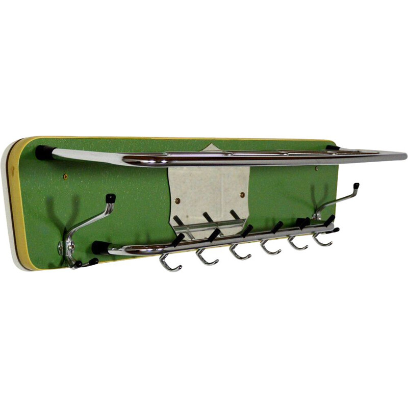 Large vintage coat rack green wood and chrome 1950s