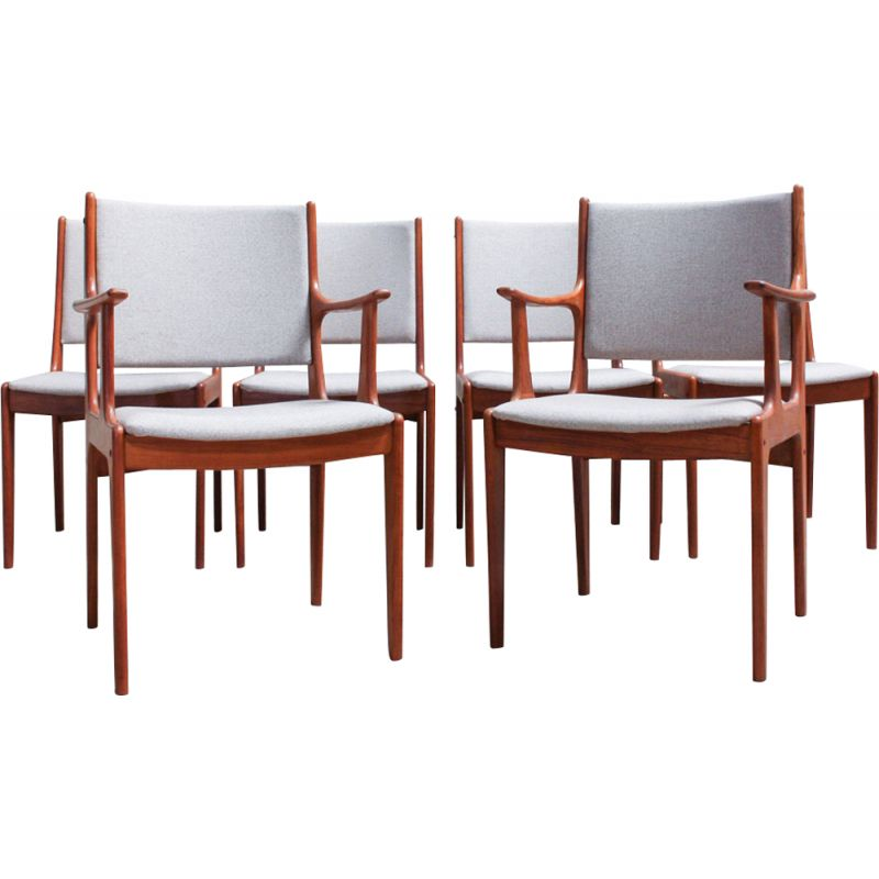Set of 6 vintage Dining Chairs by Johannes Andersen for Uldum Møbelfabrik 1960s