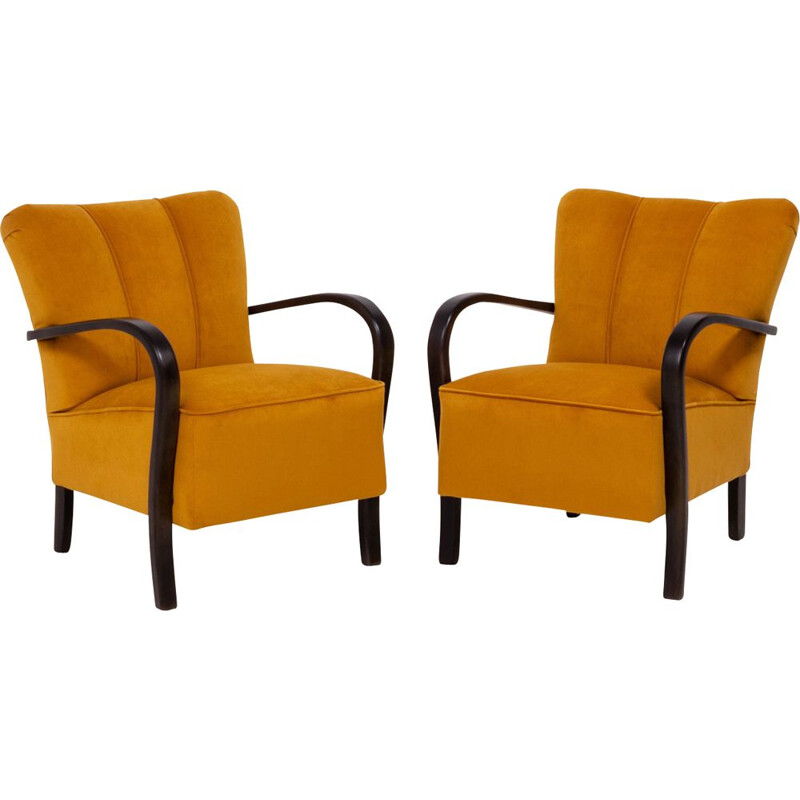 Set of 2 vintage yellow velvet bentwood Halabala armchairs