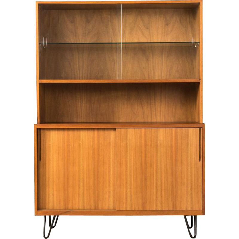 Vintage walnut bookcase by VEB 1950s