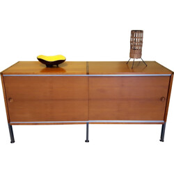 Wooden and metal sideboard, Joseph André MOTTE & Pierre GUARICHE - 1960s
