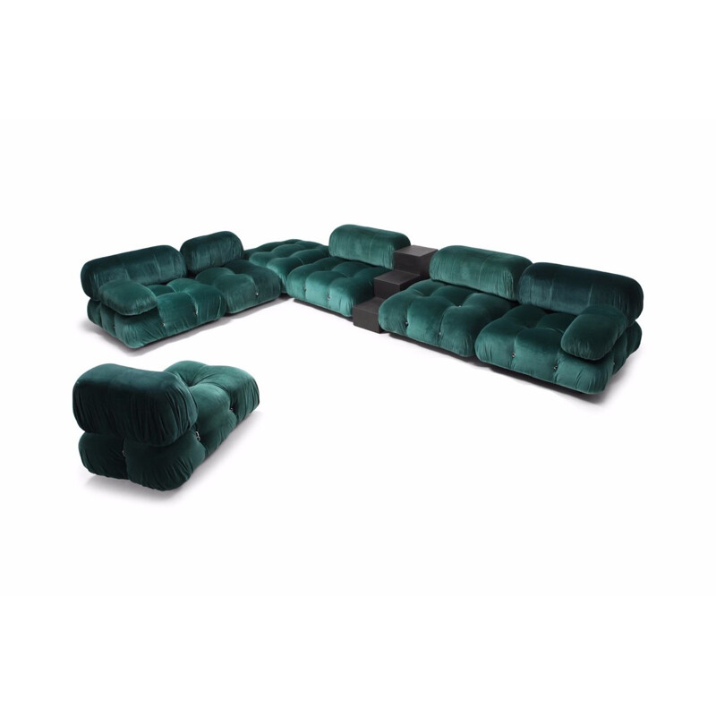 Vintage Camaleonda sectional sofa for B&B Italia in green velvet 1970