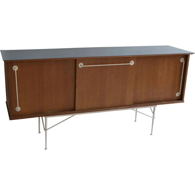 French vintage sideboard for Primavera in wood and blue formica 1950