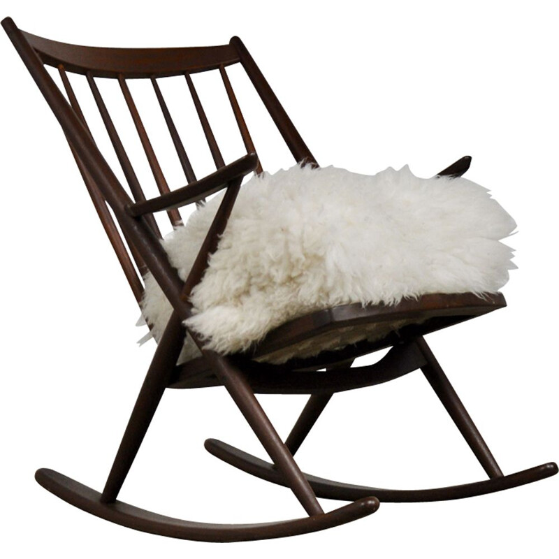 Vintage rocking chair for Bramin in sheepskin and teak 1960