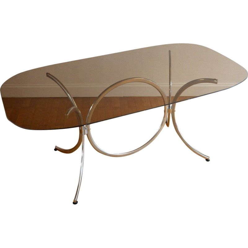 Italian vintage table for Rima in glass and metal 1970