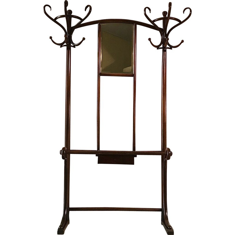 Vintage model No.4 coat rack for Thonet in bentwood and mahogany 1930