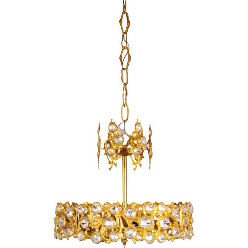 Vintage german ceiling lamp for Palwa in glass and brass 1960