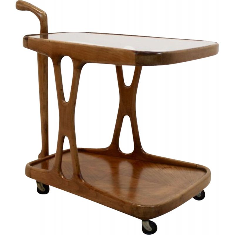Vintage italian bar cart by Lacca in glass and walnut 1950