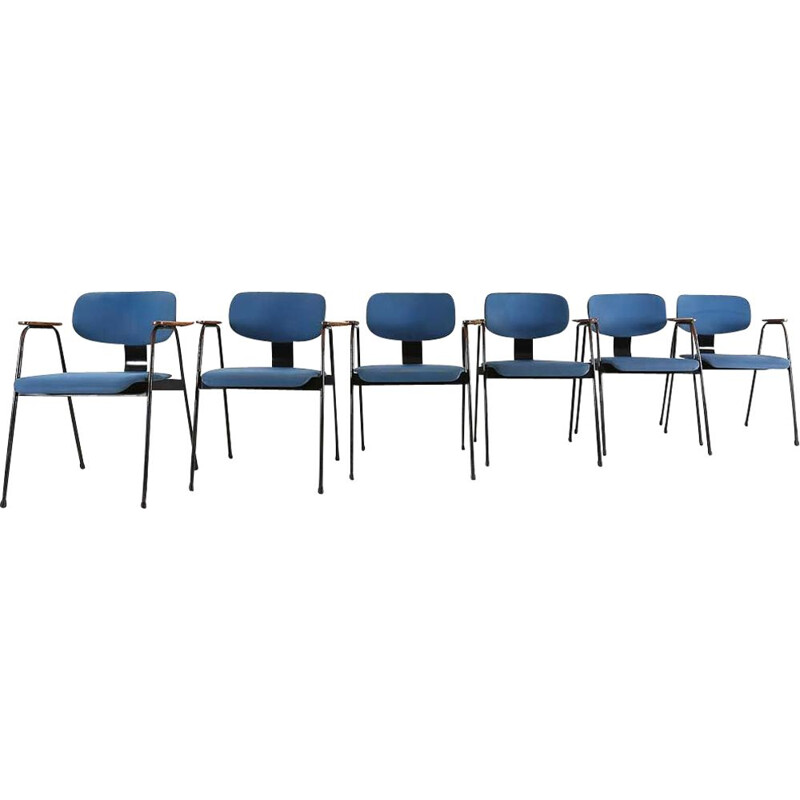 Set of 6 vintage chairs for Tubax in blue vinyl and metal 1950