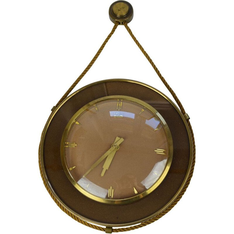 Vintage german wall clock for UPG Halle in brass and glass 1950
