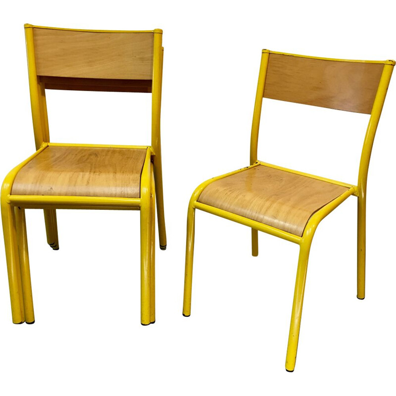 Pair of french vintage chairs in yellow steel and wood 1980