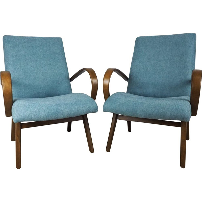 Set of 2 vintage Model 53 armchairs for TON in blue fabric and beechwood 1960
