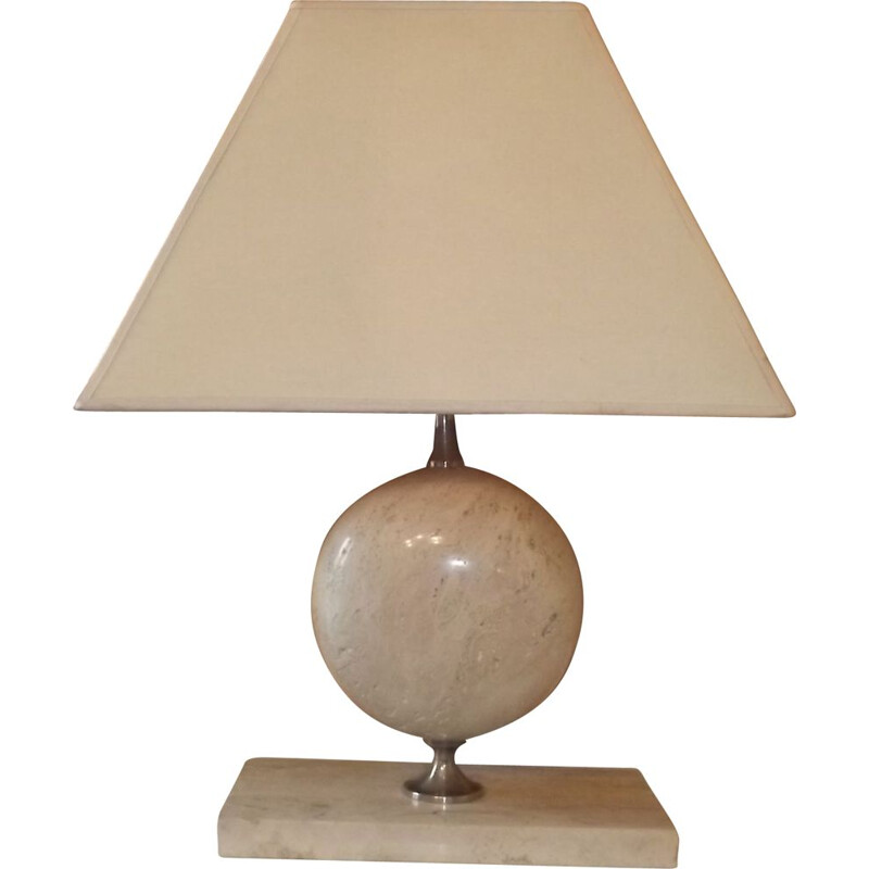 Vintage lamp by Barbier in travertine and chrome 1970