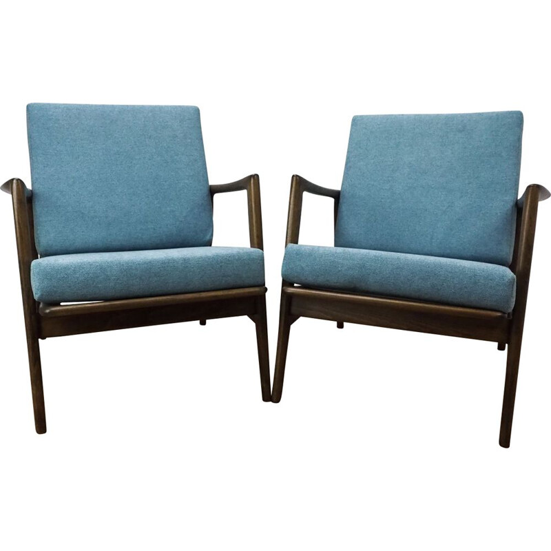 Set of 2 vintage armchairs 300-139 for Swarzędzka Factory in blue fabric and beechwood 1960