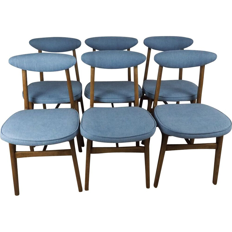 Set of 6 vintage chairs model 200 by Halas in blue fabric 1960