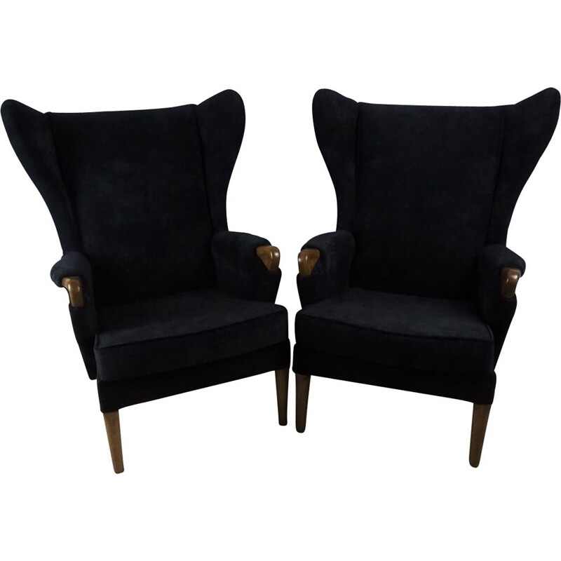 Set of 2 vintage Wingback Armchairs for Knoll in black fabric and teak 1960