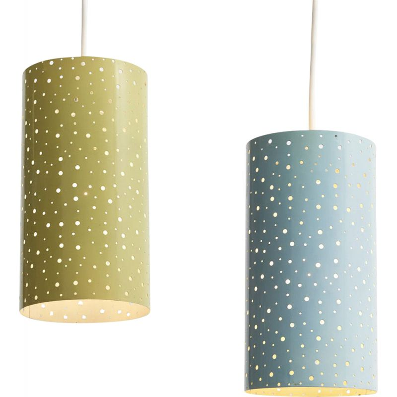 Pair of vintage pendant lamps in yellow and blue metal 1950