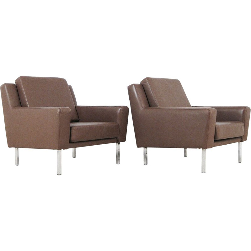 Pair of vintage armchairs in brown leather, 1960