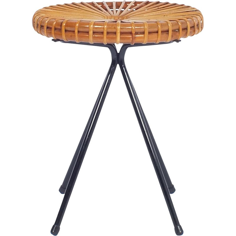 Vintage Dutchman stool in rattan,1950