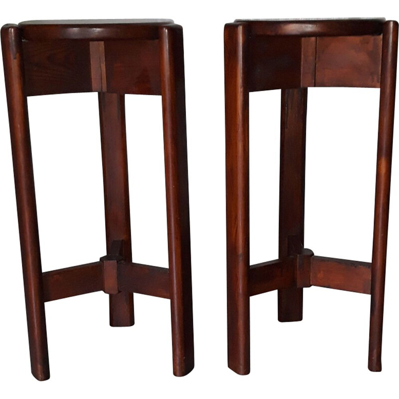 Pair of vintage stools Scandinavian design tripods