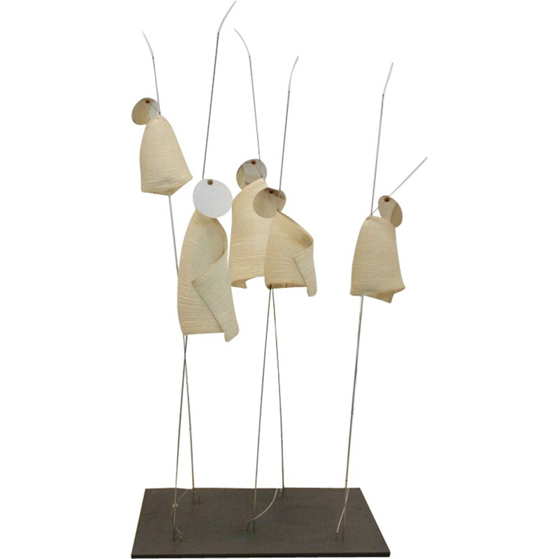 Vintage Ingo Maurer Mahbruky lamp with Japanese Paper Shades by Dagmar Mombach
