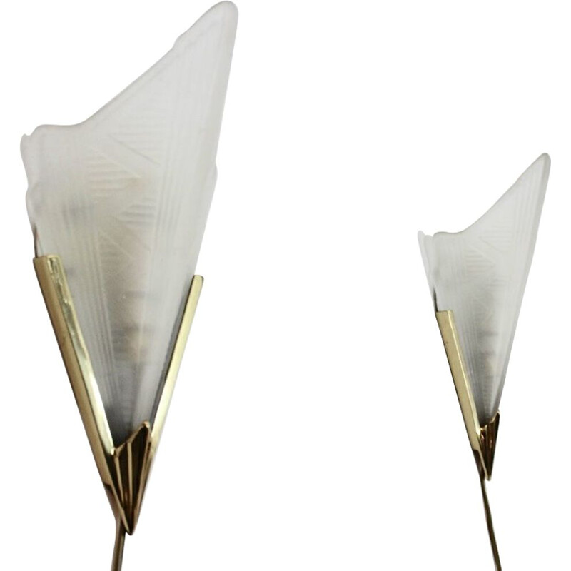 Vintage sophisticated pair of brass & glass wall lamps