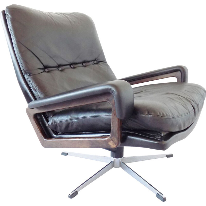 Vintage black Strässle king chair by Andre Vandenbeuck