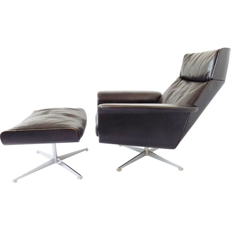 Vintage Kaufeld Siesta 62 lounge chair with ottoman by Jacques Brule