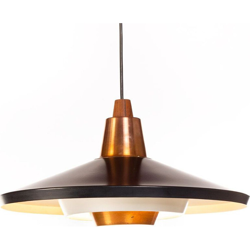 Vintage Black and Copper Pendant Lamp 1960s