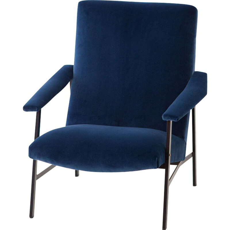 Vintage Blue Velvet and Black Iron Armchair 1950s